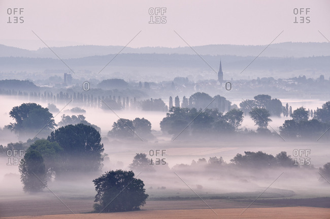 Germany- Baden-Wuerttemberg- Constance district- Radolfzell- view to Radolfzeller Aach in the morning with fog