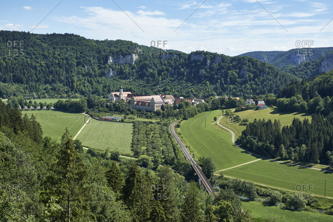 Germany- Baden-Wurttemberg- Tuttlingen district- Danube valley with Beuron monastery