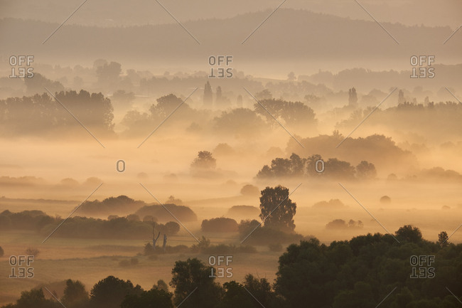 Germany- Baden-Wuerttemberg- Constance district- view to Radolfzeller Aach in the morning with fog