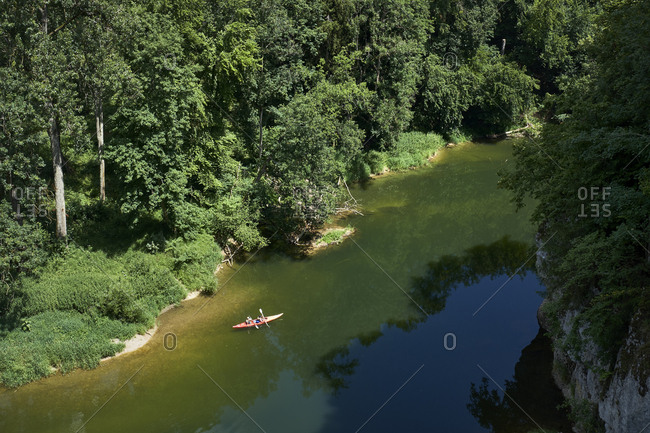 Germany- Baden-Wurttemberg- Sigmaringen district- Canoe on Danube river in upper Danube Valley