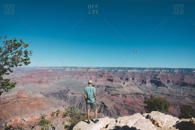 USA- Arizona- Grand Canyon National Park- back view of man looking at view