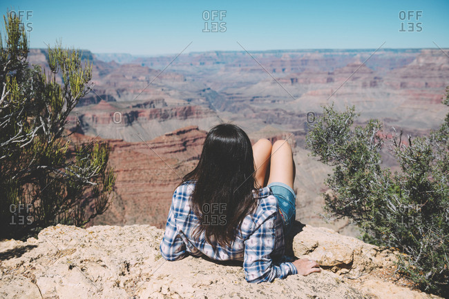 USA- Arizona- Grand Canyon National Park- Grand Canyon- back view of woman looking at view