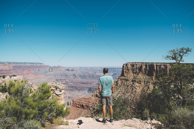 USA- Arizona- Grand Canyon National Park- Grand Canyon- back view of man looking at view