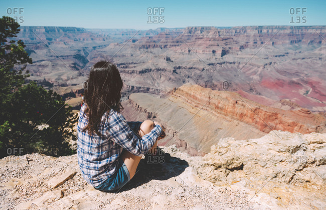 USA- Arizona- Grand Canyon National Park- back view of woman looking at view