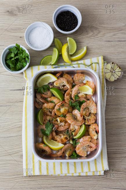 Shrimps in baking dish