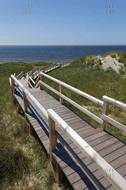 Germany- North Frisia- Sylt- Boardwalk to Kampen beach