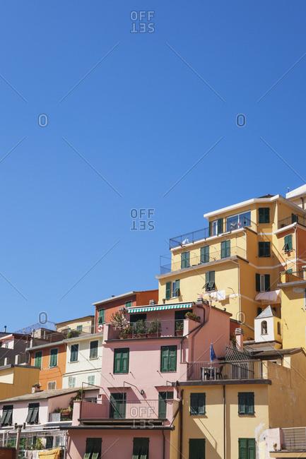 Italy- Liguria- Cinque Terre- Riomaggiore- Riviera di Levante- typical houses and architecture- typical colorful houses