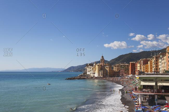 September 20, 2015: Italy- Liguria- Camogli- Lungomare of Camogli- beach
