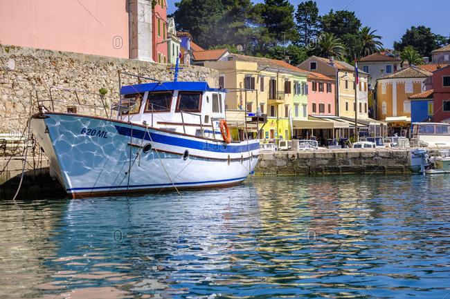 May 26, 2018: Croatia- Istria- Losinj- Rovenska- Fishermen's boat at the harbor