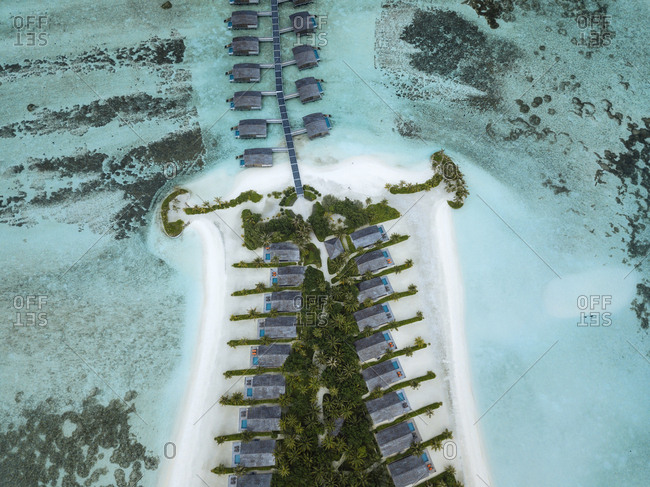 Maldives- Aerial view of water bungalows