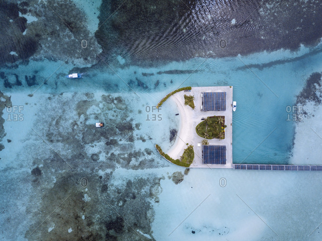 Maldives- Aerial view of bungalows