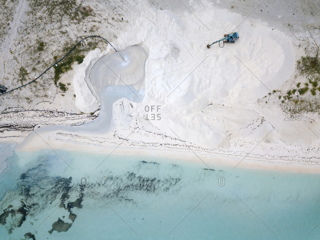 Aerial view of Maldives- digger on beach
