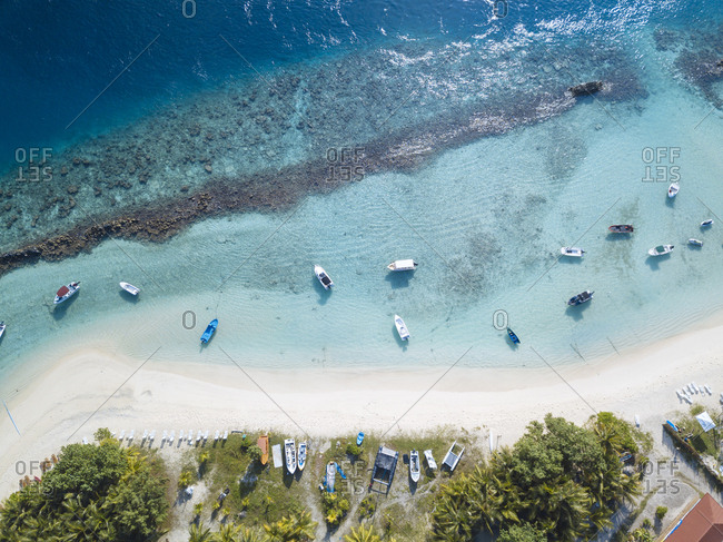 Maldives- Aerial view of beach and boats