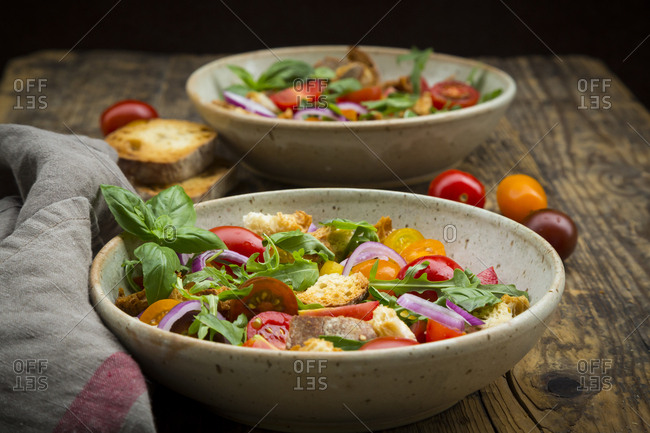 Panzanella made of roasted Ciabatta- rocket- red onions- tomatoes and basil
