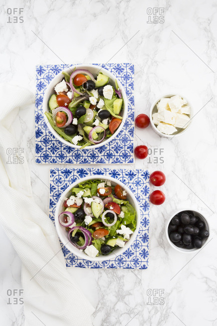 Two bowls of Greek salad