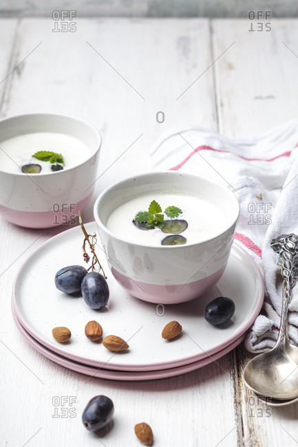 Ajo Blanco- white gazpacho- spanish cold soup- almonds and blue grapes