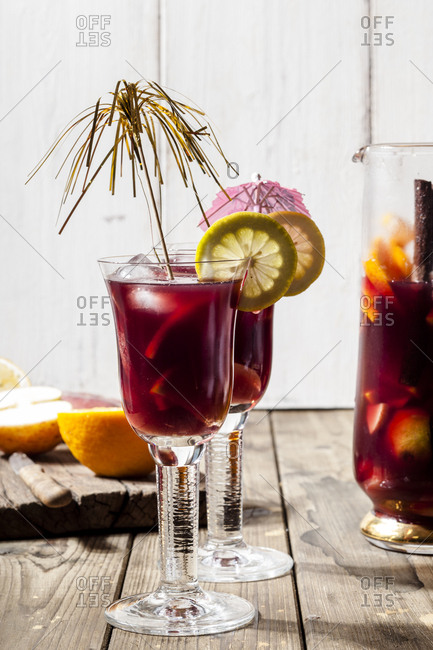 Decorated glasses of Sangria with fresh fruits