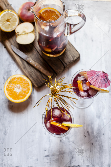 Sangria with fresh fruits