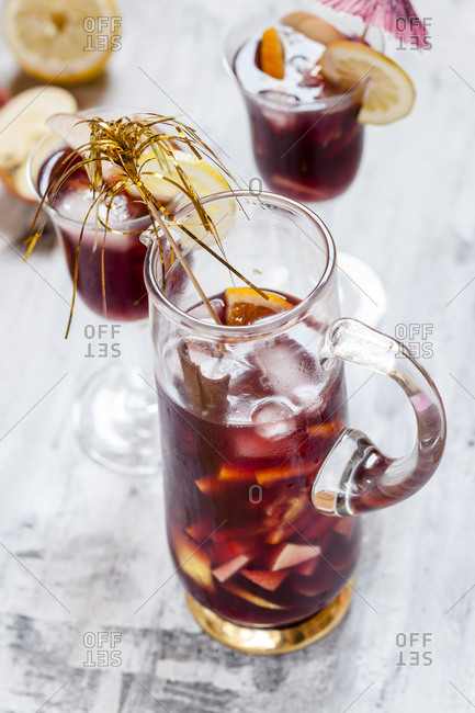 Glass carafe of Sangria with fresh fruits