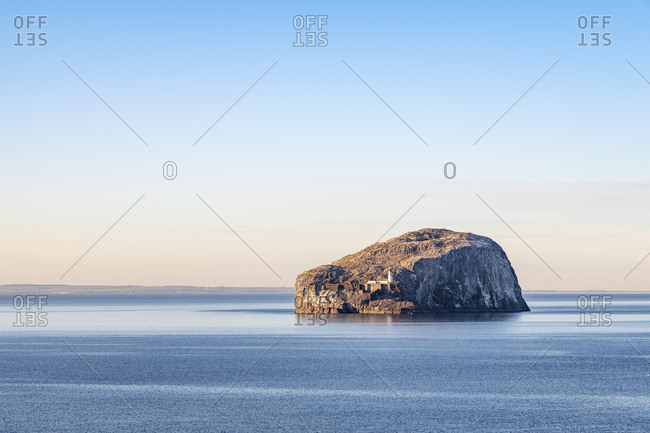 UK- Scotland- North Berwick- Firth of Forth- view to Bass Rock with lighthouse at sunset