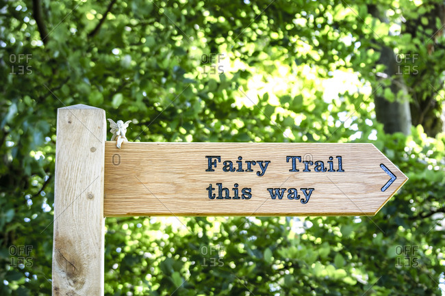 UK- Scotland- East Lothian- sign post to fairy trail