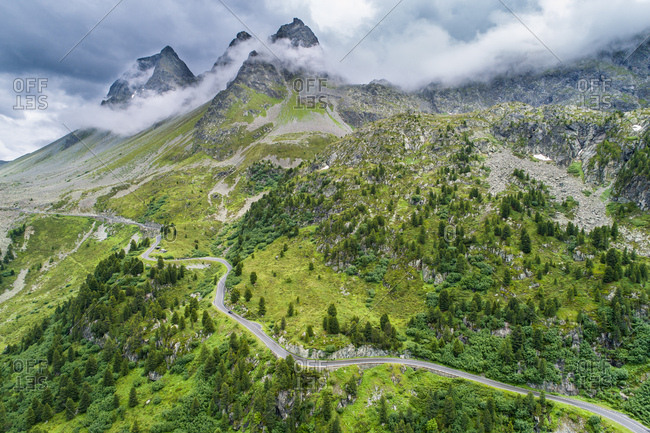 Switzerland- Graubuenden Canton- Aerial view of Albula Pass