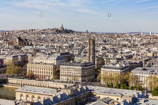 April 17, 2018: France- Paris- City center with Montmarte and Sacre-Coeur basilica in background