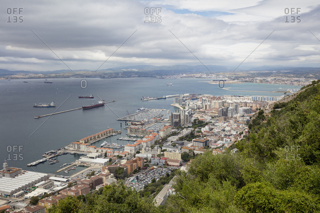 Gibraltar- view to city and  Mediterranean Sea from above