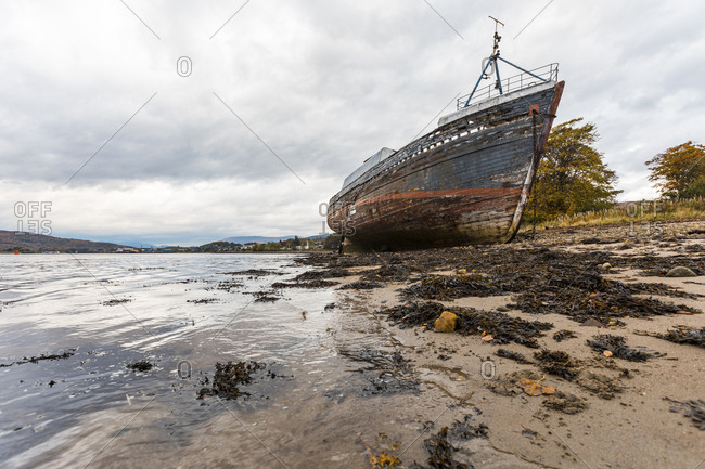 UK- Scotland- ship wreck run aground next to Fort William in the Scottish Highlands