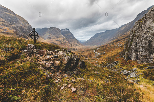 UK- Scotland- Ralston Cairn point near Glencoe with view of the valley and of the Three Sisters