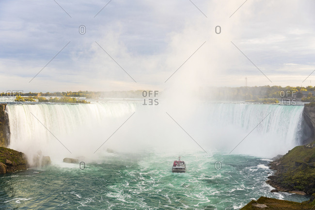 Canada- Ontario- Niagara Falls and boat on the river