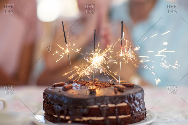 Chocolate Birthday Cake With Sparklers Stock Photo