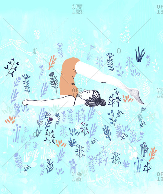 Woman in yoga plow pose