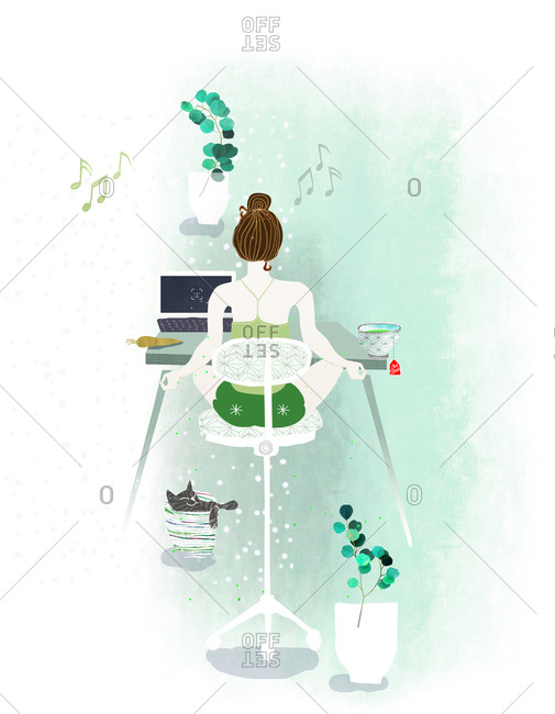 woman working or study behind desk in lotus pose