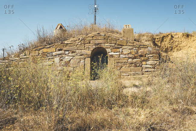 Archaeological field site with ancient ceramic oven in Castile and Leon, Spain