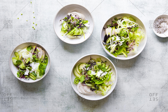 Bowls of poached chicken apple fennel salads