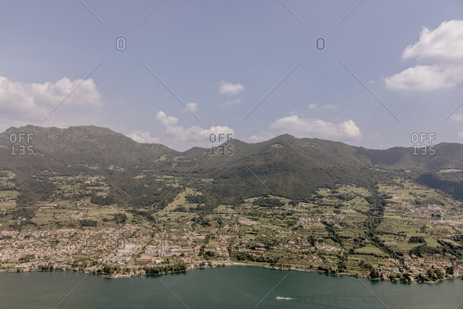 Elevated view above Iseo Lake, Italy