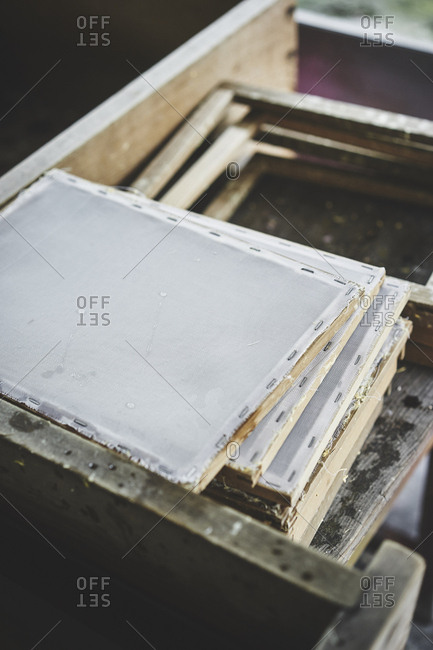 Gauze on frames for handmade paper