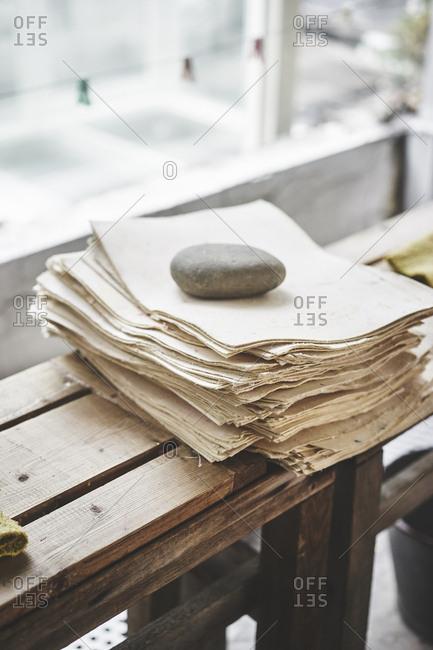 Stack of handmade paper