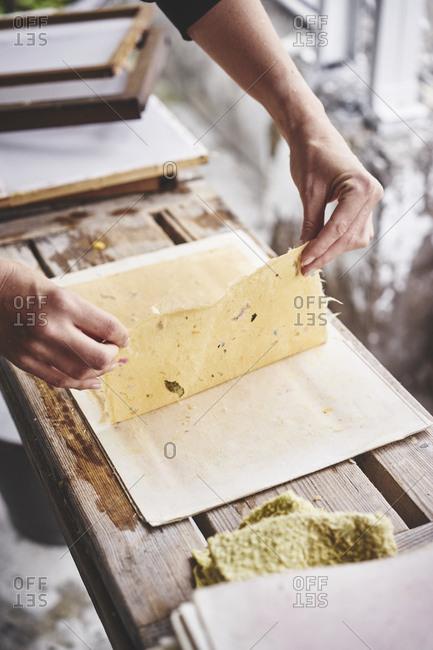 Woman making handmade paper in Taiwan