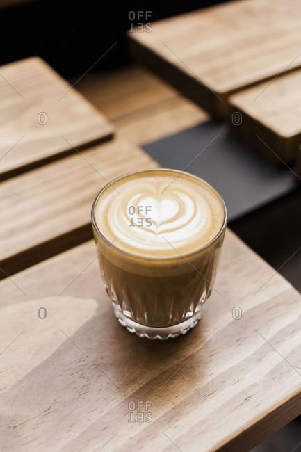Latte on a coffee shop table