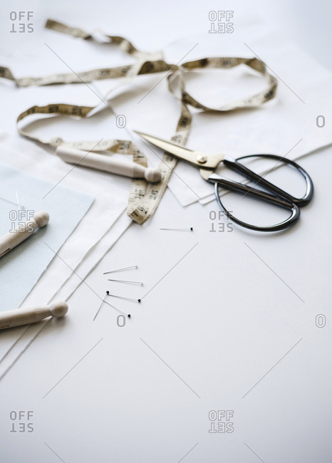 Sewing tools on a white background