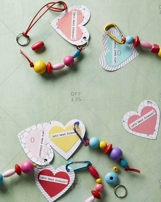 Heart-shaped key chains with beads