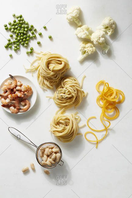 Fresh homemade pasta with a variety of ingredients