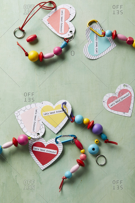 Handmade heart-shaped key chains with beads