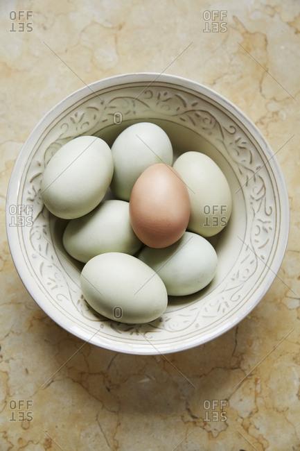 Bowl full of fresh eggs