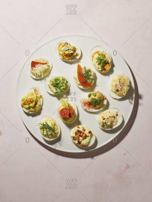 Deviled eggs with various toppings