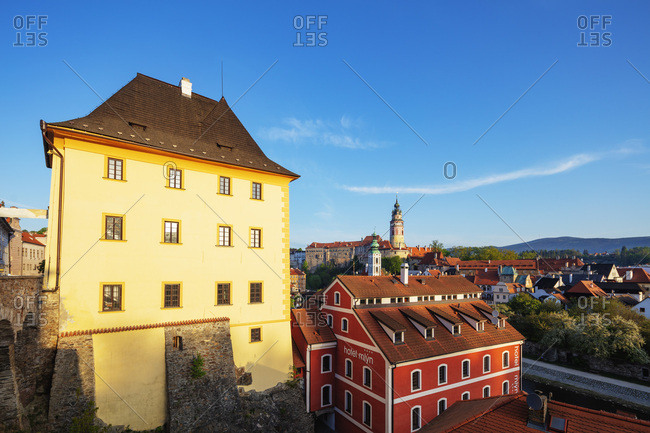 April 29, 2018: Cesky Krumlov, UNESCO World Heritage Site, South Bohemia, Czech Republic, Europe