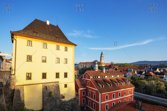 April 29, 2018: Cesky Krumlov, UNESCO World Heritage Site, South Bohemia, Czech Republic, Europe