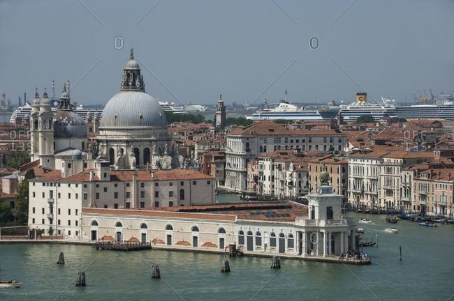 January 1, 2005: Chiesa Santa Maria Della Salute, Grand Canal, viewed from Chiesa San Giorgio Campanile, UNESCO World Heritage Site, Venice, Veneto, Italy, Europe